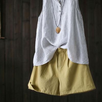 純棉休閒短褲寬鬆薄版寬管微喇褲-設計所在