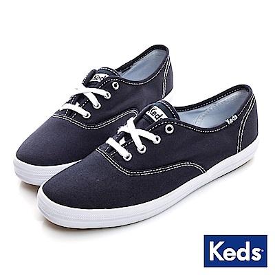Keds 品牌經典綁帶休閒鞋-藍色