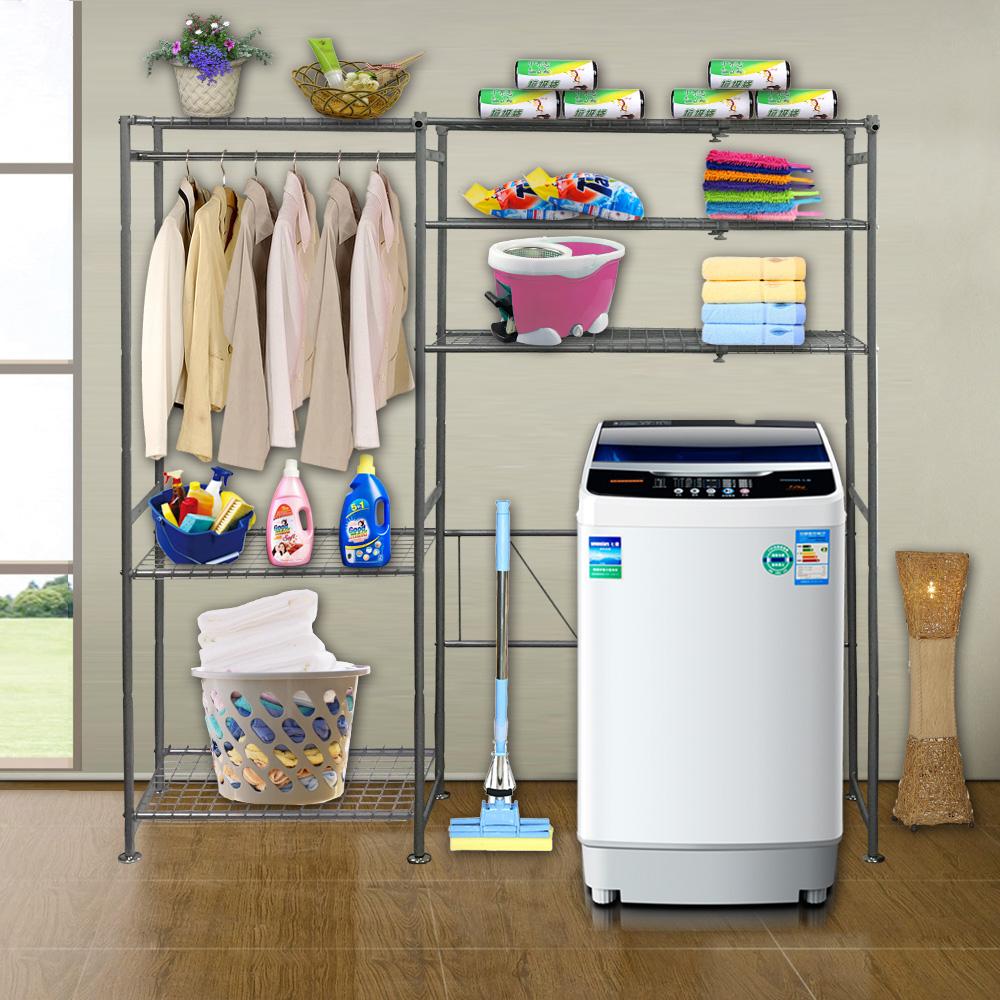 巴塞隆納─三層層板伸縮洗衣機馬桶置物架V型設計強化結構 (附60公分層板)
