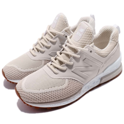 New Balance 休閒鞋 574 低筒 運動 女鞋 紐巴倫 經典款 襪套 舒適 穿搭 金 白 WS574WAB
