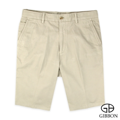 GIBBON 水洗棉Stretch高彈舒適素色短褲‧卡其色