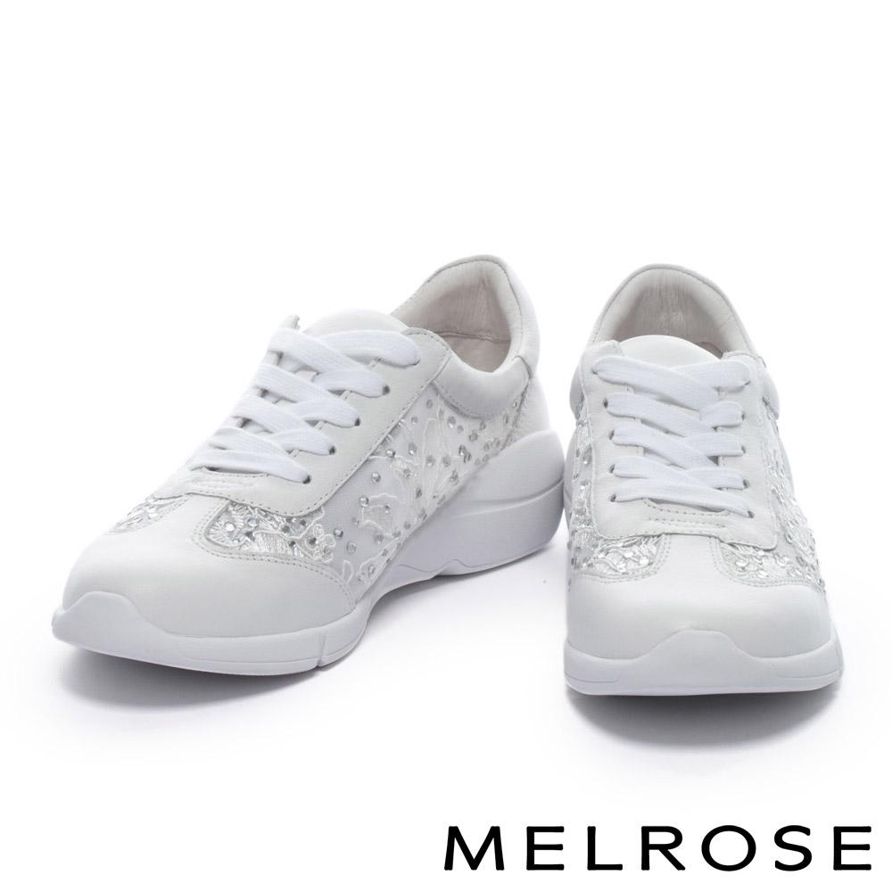 休閒鞋 MELROSE 異材質拼接華麗白鑽刺繡網布綁帶厚底休閒鞋-白
