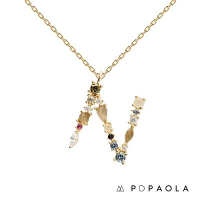 PD PAOLA 西班牙輕奢時尚品牌 字母N 彩鑽寶石項鍊