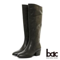 【bac】中性時尚 - 擦色感簡約粗跟長靴-黑