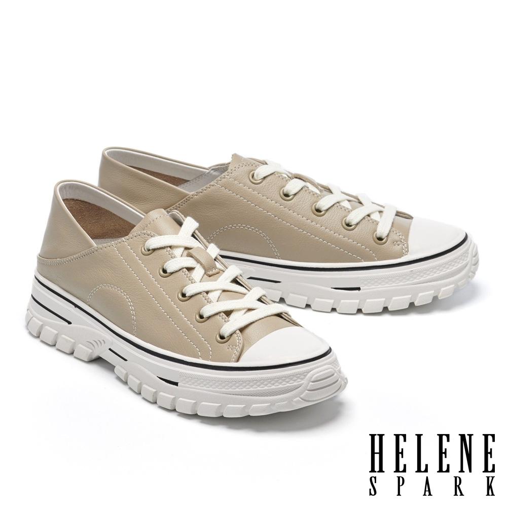 休閒鞋 HELENE SPARK 街頭時髦綁帶造型全真皮厚底休閒鞋-灰