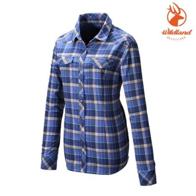 WildLand 女彈性T400格紋保暖襯衫0A82201 丁寧藍