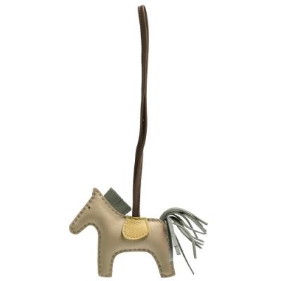 HERMES RODEO MM 馬兒造型拼色小羊皮鑰匙圈/吊飾(迷你-卡其X棕)