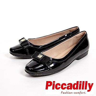 Piccadilly 優雅蝴蝶結 漆皮寬楦低跟女鞋-黑(另有淺灰)