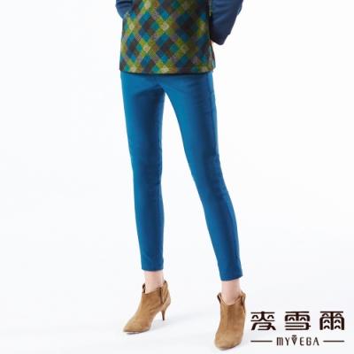 【麥雪爾】鬆緊腰頭彈力緊身九分褲-藍