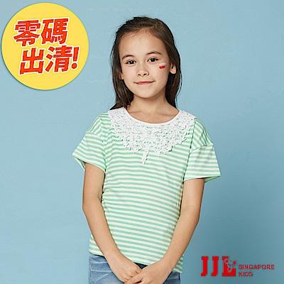 JJLKIDS 百搭華麗造型蕾絲造型T恤(薄荷綠)