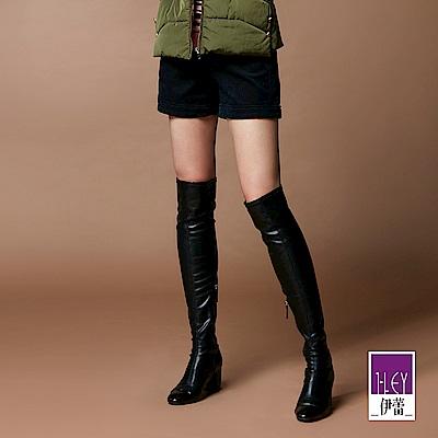 ILEY伊蕾 反摺造型彈性燈芯絨短褲(藍)