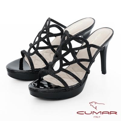 【CUMAR】情迷哈瓦那 - 排鑽鏤空透膚感防水台高跟涼鞋-黑
