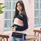 betty's貝蒂思 圓領拼色橫條針織上衣(深藍)