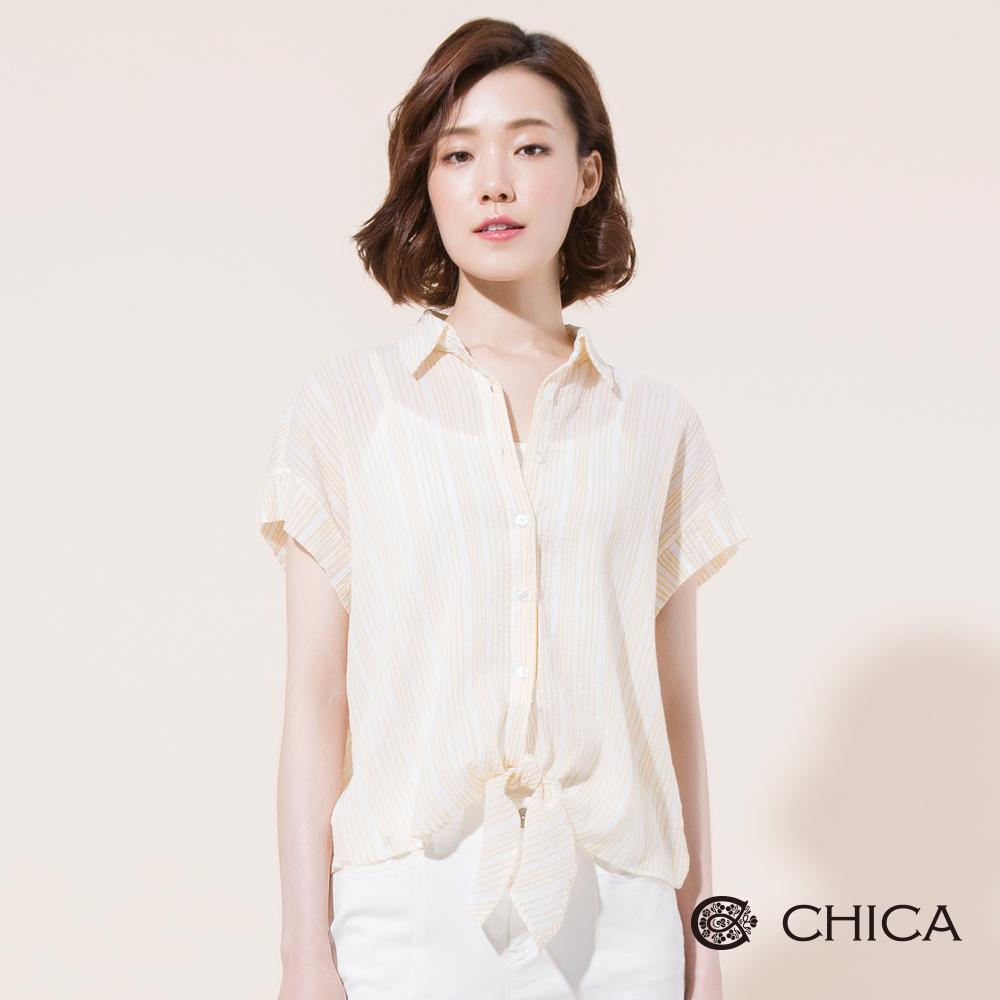 CHICA 盛夏光年軟料綁帶條紋襯衫(2色)