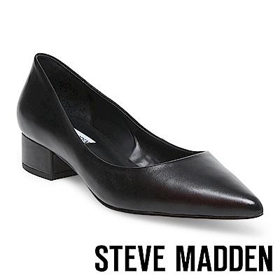 STEVE MADDEN BAIS 真皮尖頭素色中跟鞋-黑色
