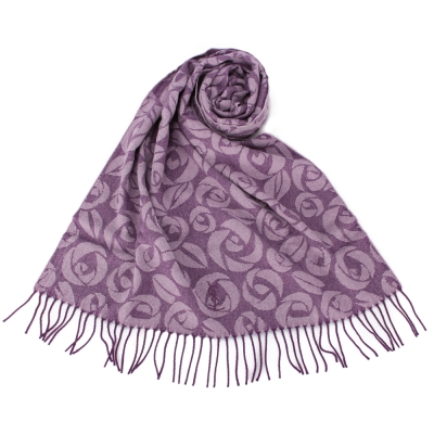 YSL 凡爾賽玫瑰大LOGO羊毛披肩禮盒-紫色