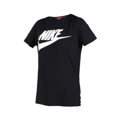 NIKE 女短袖圓領T恤-短T 短袖上衣 慢跑 訓練 路跑 黑白