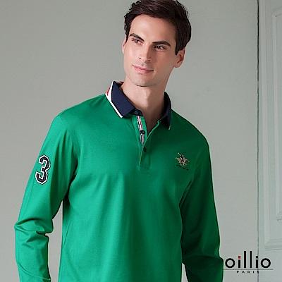 歐洲貴族 oillio 長袖POLO 休閒素面 賽馬刺繡 綠色