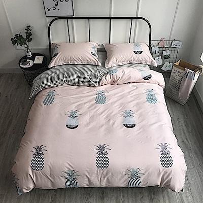 BUNNY LIFE 菠蘿-加大-簡約精梳純棉床包被套組