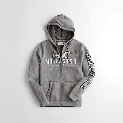 HCO Hollister 海鷗 經典刺繡大海鷗文字連帽外套-灰色