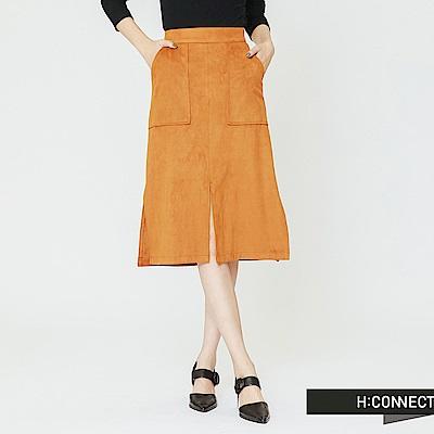 H:CONNECT 韓國品牌 女裝-雙口袋開岔設計中長裙-駝