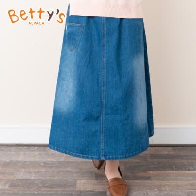 betty's貝蒂思 顯瘦復古刷色牛仔長裙(牛仔藍)