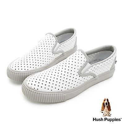 Hush Puppies Starlit 沖孔皮質休閒便鞋-白色