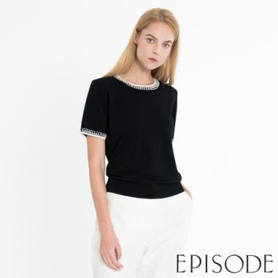 EPISODE - 百搭黑色修身釘珠針織短袖上衣