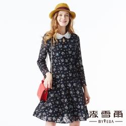 【麥雪爾】典雅刺繡荷葉領碎花蕾絲短洋裝