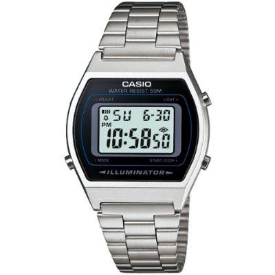 CASIO 簡單風鋼帶款電子數位錶-銀(B640WD-1A)30mm