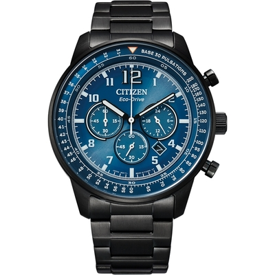CITIZEN 星辰 Chronograph光動能三眼碼錶計時黑鋼錶限定店鋪販售44mm(CA4505-80L)