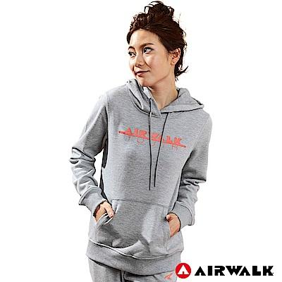 【AIRWALK】女款連帽印花T-麻灰