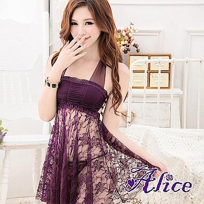 Alice連體性感情趣套裝紫色蕾絲露背吊脖-AK030