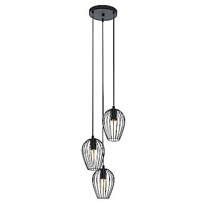 EGLO歐風燈飾 現代黑三燈式造型吊燈(不含燈泡)