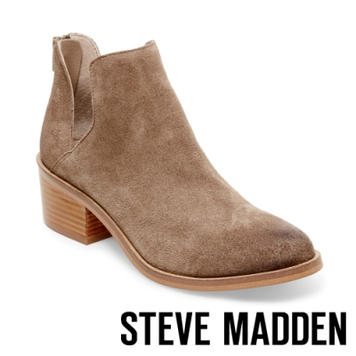 STEVE MADDEN-LANCASTER絨面美型粗跟拉鍊短靴-絨墨綠色