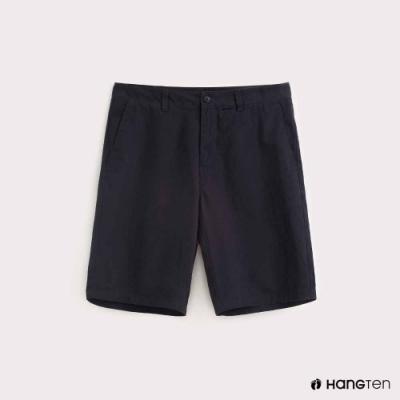 Hang Ten-男裝-純色素面百慕達短褲-藍