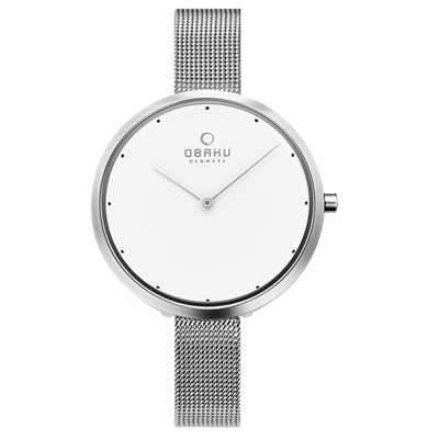 OBAKU 首席極簡主義曲線腕錶-銀(V227LXCIMC)/34mm