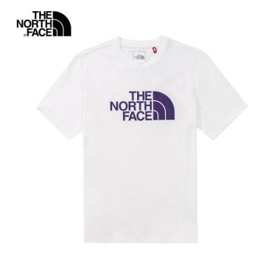 The North Face北面男女款白色紫LOGO短袖T恤 5B3QFN4