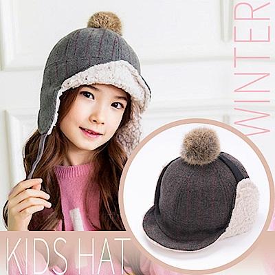 VOSUN 兒童新款 福爾摩斯 頂級毛球+內刷毛抗風保暖覆耳羊毛帽子_深棕