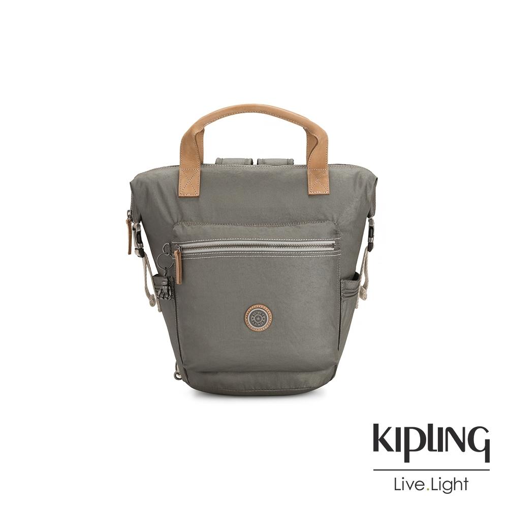 Kipling 低調皮革金屬灰褐色雙側插扣手提後背兩用包-TSUKI S