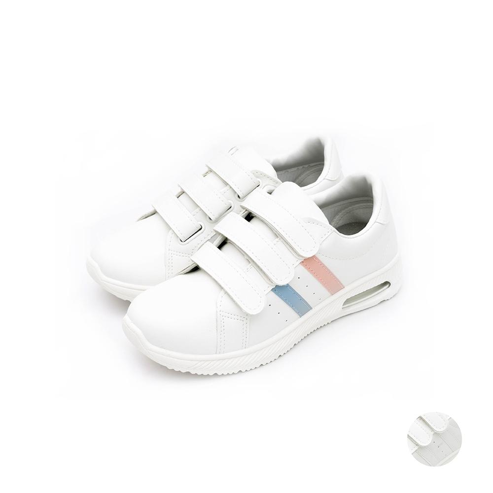 ARRIBA艾樂跑女鞋-魔鬼氈皮質休閒鞋-白粉/全白(AB8090)
