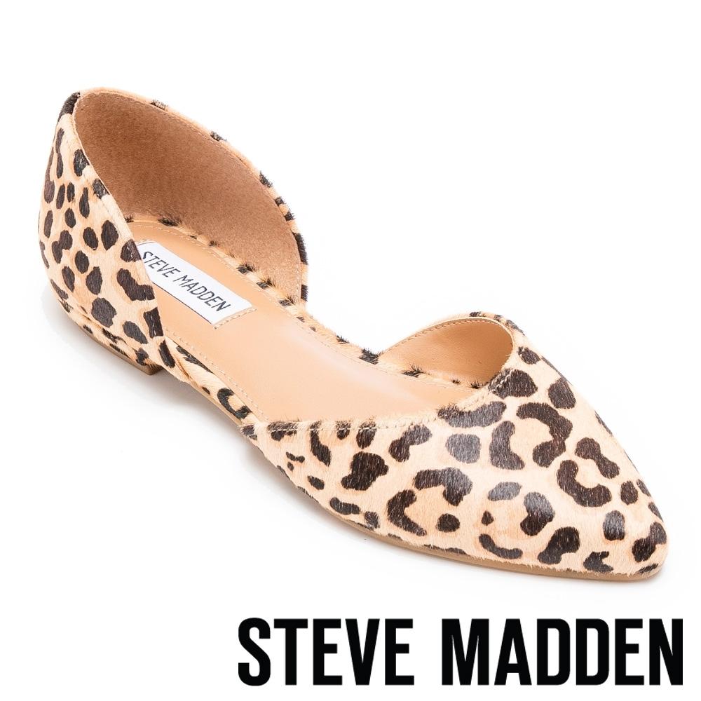 STEVE MADDEN-GLISS 優雅真皮側空低跟鞋-豹紋