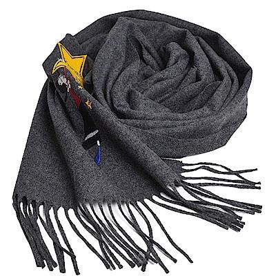 MOSCHINO BOUTIQUE 奧莉薇刺繡圖騰美麗諾羊毛披肩/圍巾(黑灰色)