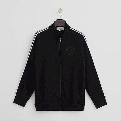 Hang Ten - 男裝 -有機棉 - 休閒風格純棉素面外套-黑色