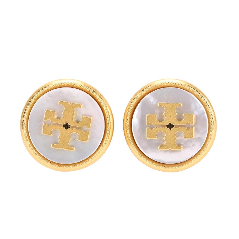 TORY BURCH 黃銅雙T珍珠貝母蝶釦針式耳環(金色)