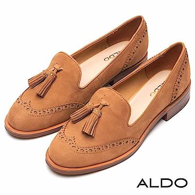ALDO 原色真皮鞋面綴異國流蘇木紋粗跟樂福鞋~內斂焦糖