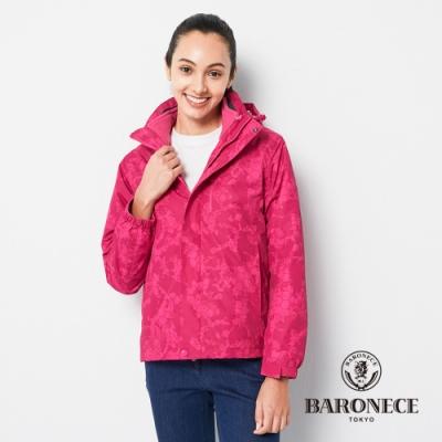 BARONECE 百諾禮士休閒商務 女裝 兩件式鋪棉迷彩連帽夾克外套-桃紅色(2206781-75)