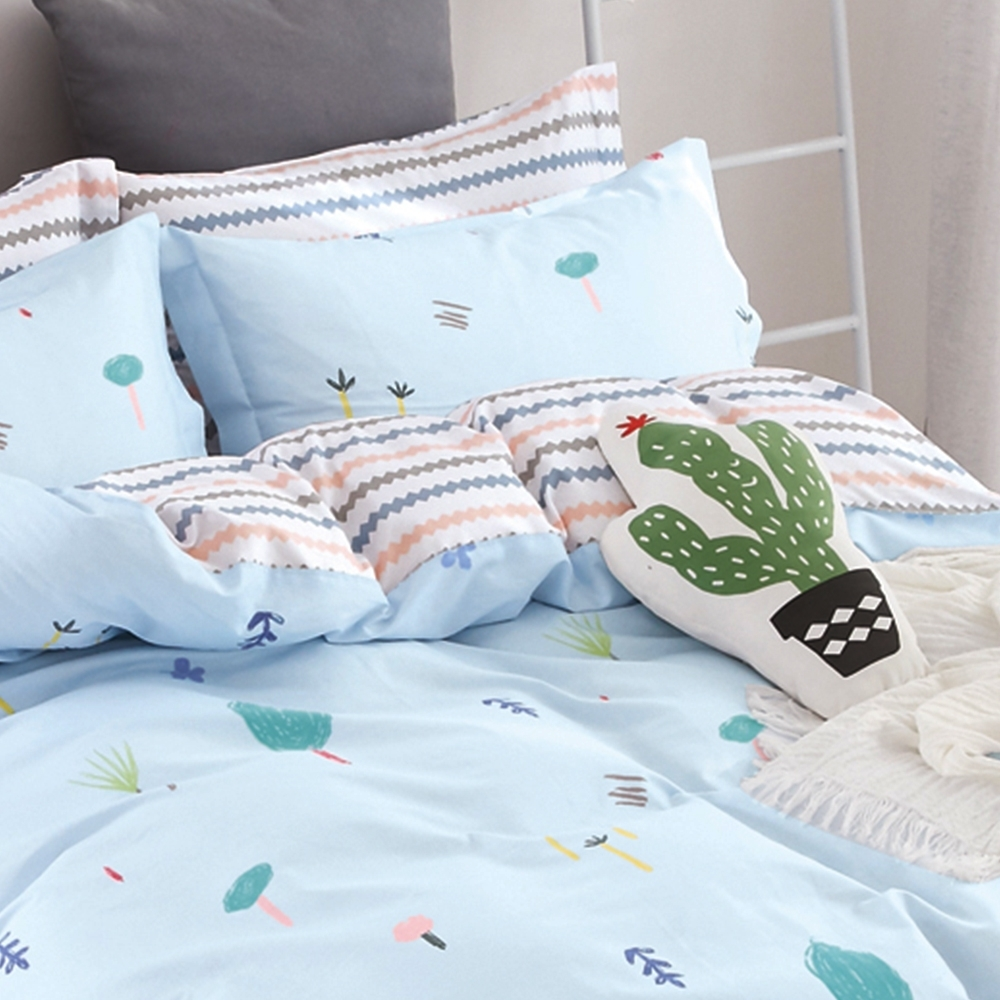 戀家小舖 / 單人床包枕套組 童趣生活 100%精梳純棉