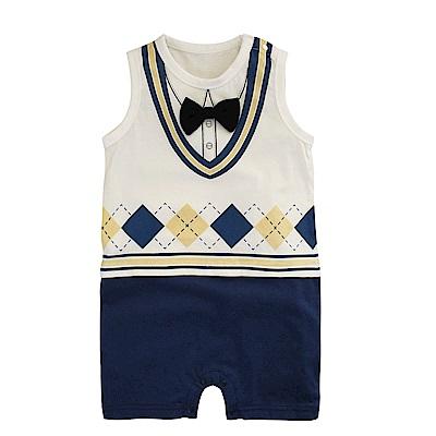 baby童衣 假兩件紳士造型無袖爬衣 學院風小帥哥連體衣 90030