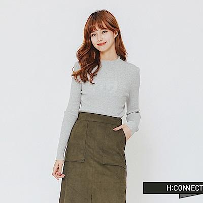 H:CONNECT 韓國品牌 女裝-簡約坑條針織上衣-灰